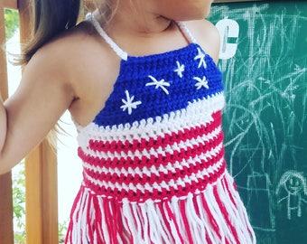 4th of july top, crochet crop top, girls crop top, toddler top, boho top for girls, boho clothing, gift for girls