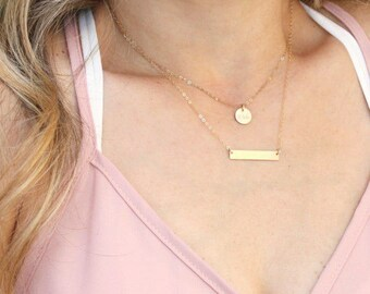 Dainty Layered Necklace Set, Rose, Silver or Gold Bar Necklace, Name Bar Necklace, Personalized Necklace Set of 2, Initial Necklace