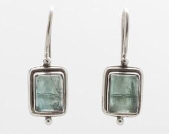 Green Apatite Earrings - Silver Earrings - Dangle & Drop Earrings - Gemstone Earrings - Green Apatite  - Handmade Earrings