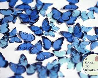 48 small blue edible butterflies, wedding cake topper. Paper butterflies, wedding cake topper, waferpaper butterflies, cake pops