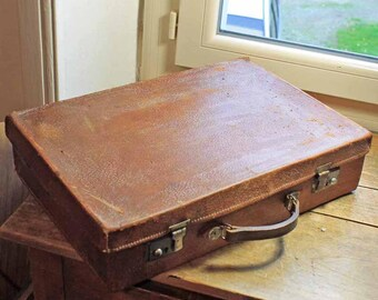 Vintage leather suits case / Vintage Luggage / Travel Case / French suitcase