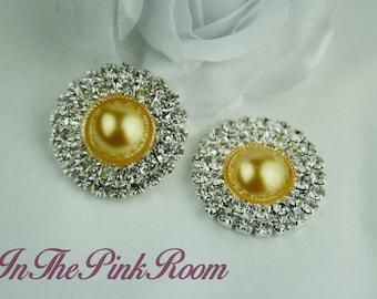 "2 Elegant Double Row Crystal Rhinestones ~ YELLOW PEARL ~ flatback buttons, 25mm, 1"""