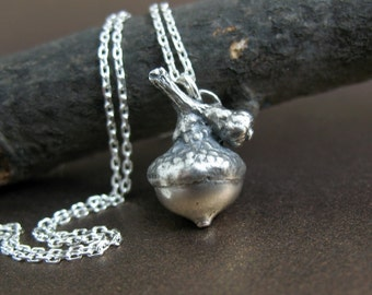 Medium Sterling Silver Acorn Necklace, Botanical Jewelry, Acorn Necklace