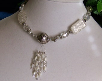 Bridal Jewelry,Wedding Jewelry Set,White Necklace Set,Tassel Necklace Set,White Beaded Necklace, Pendant Necklace, #66