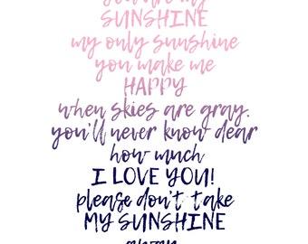 CUSTOM 11x14 Photographic Print: You are my Sunshine