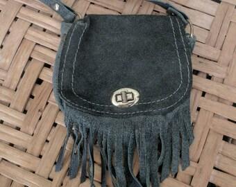 Vintage purse - small leather fringe crossbody bag, shoulder bag, coin purse