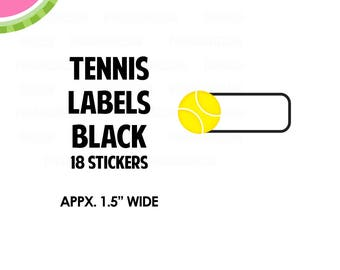 "Tennis Black Label Stickers | 1.5"" size | 18 Kiss-Cut Stickers  | LB111"