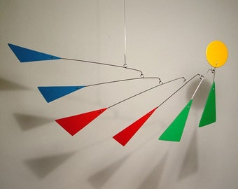 "Art Mobile Modern Hanging Sculpture by Julie Frith size Medium 33""w x 16""h Aerial Frithmobiles"