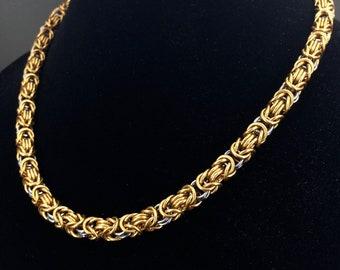 Gray & Gold Byzantine Chain Necklace