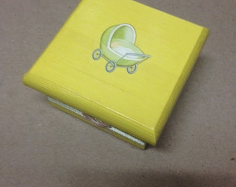 Wood Baby Box Yellow Square Infant Newborn Keepsake