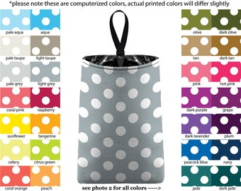 Auto Trash - Jumbo Polka Dots - PICK YOUR COLOR - Car Trash Bag Car Accessory Automobile Caddy Trash Bin Garbage Floral Custom