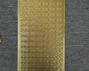 """Santa Claus stickers embossed gold number """"80"""" pattern"""