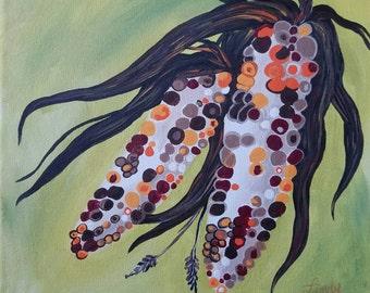 Indian Corn, Fall 12 x12 canvas Original Do Not Copy acrylic painting  canvas art Autumn holiday anniversary garden thanksgiving Ships Free!