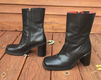 Vtg Platform black leather ankle boots free shipping