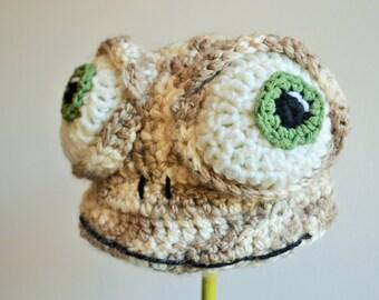 Crochet Oscar Oasis Hat - cartoon costume hat - crochet lizard hat for boys or girls - crochet animal hats
