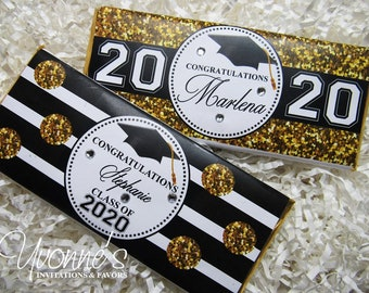Graduation Candy Bars *Assembled* or Wrappers Only-Chocolate Bar Favors-Class of 2018-Bling-Glitter- High School-College Graduation Party