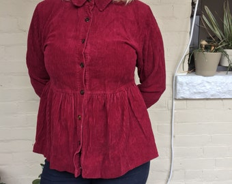 Corduroy blouse, corduroy top, burgundy top, peplum top, button up top