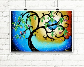 Blue Print Tree Wall Art, Full Moon Wall Decor Whimsical Art Print, Woodland Living Room Decor
