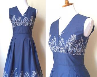 Blue Cactus Retro Summer Dress Small and Medium