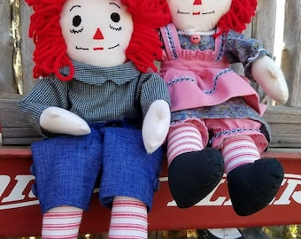 Handmade Raggedy Ann and Andy Dolls with Red Hair