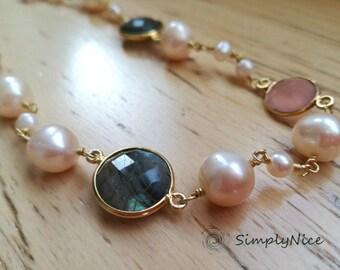 Labradoride and Quartz Necklaces Gold