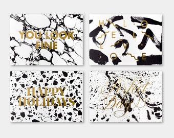 GREETING CARDS PACK. 4 designs. black and goldfoil