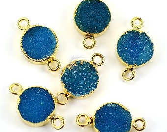 22k Gold Electroplated Light Blue Druzy Connector, 10mm Round Shape Druzy Gemstone Connector Pendant 1pc (LEZ-11155)