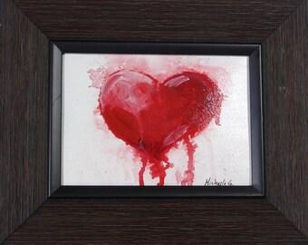 Romantic Gift, Heart Painting, Red Heart, Kitchen Art, Valentine Gift, Home Decor, Kitchen Decor, Original Art, Gift For Her, Gift For Him