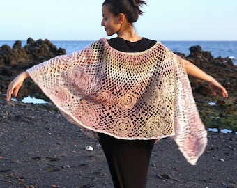 Rose Blush Crochet Wrap, Hand Made Crochet Shawl, Multicolour, Hand Crochetted Wrap, Rustic, Boho Style, Hand-Dyed Wool Wrap