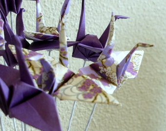 Japanese Origami Paper Cranes on stems - set of 12