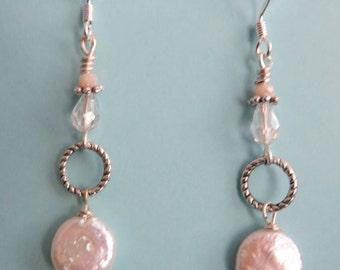 Pearl Earrings Coin Pearl Earrings Wedding Dangle Earrings Bridal Earrings Bridal Jewelry Bridesmaid Gift Surgical Steel Ear Wire