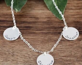 Personalized Name Tag Necklace, Necklace for Mom, Hand Stamped Family Necklace, Name Jewelry, Mother's Day Gift, Mother's Necklace