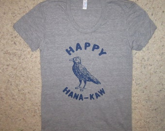 womens happy hanu-kaw t shirt funny hanukkah crow animal cute top for holiday season perfect gift or present new humorous super soft tee