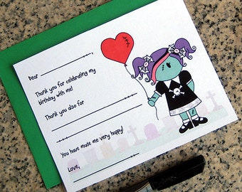 zombie girl fill in thank you notes red stitched heart balloon for birthday halloween costume party customizable with envelopes - set of 10