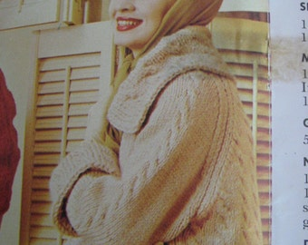 1960's Vintage Knitting Pattern Women's Cabled Coat  PDF 435