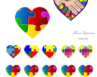 Autism -  Bottle Cap Images 1 inch -25 mm 4x6 Digital Collage INSTANT DOWNLOAD