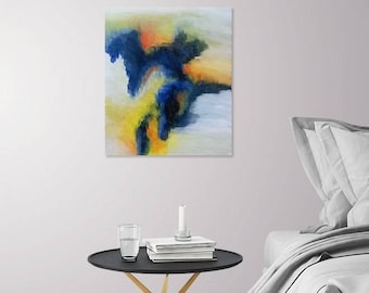 Impassioned - Acrylic Abstract Painting Decor, 16x20in - Blue, Yellow, Grey, Orange, and White.