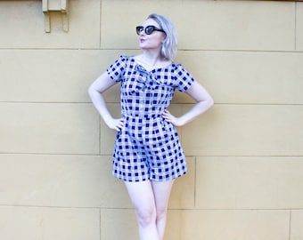 Blue Stripe Jumpsuit - One Off - Handmade by Alice