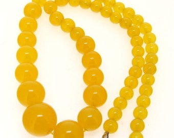 Loose Round Yellow Jade Gemstone Beads Strand 6x14mm