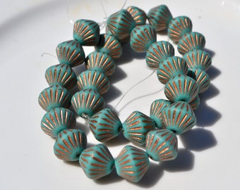 Chunky Turqoise and Copper Bicone Czech GLass Beads 15