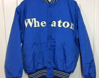 1980's Wheaton College nylon quilted bomber jacket size XL sewn patch letters blue white green