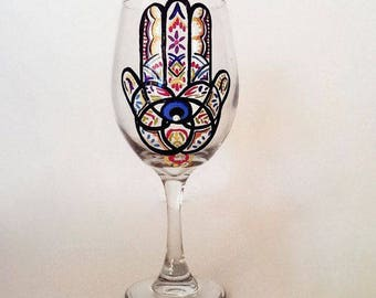 Hamsa Hand Wine Glass – 21 oz Hand Painted Wine Glasses