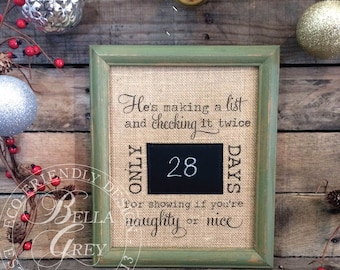Santa Countdown Sign - Ships Next Day - Burlap and Chalkboard Countdown - Christmas Decor - Days Until Christmas - Making a List