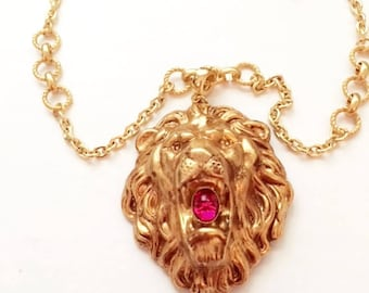 """Lion Head Leo - Handmade - 24kt Gold Plated W/ Ruby Red  20"""""""