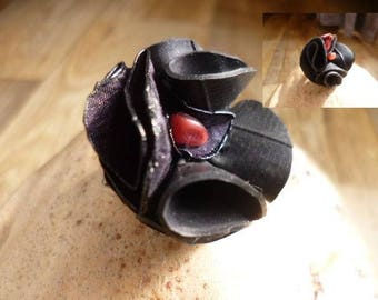 recycled rubber - bicycle inner tube-ring tube flower ring - black flower - vegan leather ring - recycled jewelry ring - eco friendly ring