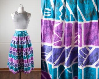 50s Style Skirt, Novelty Print Skirt, Tribal Print Skirt, 80s Does 50s Skirt, 80s Skirt, High Waist Skirt, Native American Inspired Print