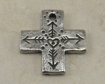 Heart Cross Green Girl Pendant Charm - Arrows Zen Doodle North East South West Direction - American Artist Made Lead Free Pewter Silver 524
