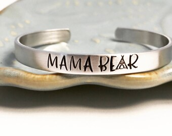 MAMA BEAR ~ copper ~ bronze ~ aluminum ~ sterling silver ~ custom ~ stacking bracelet ~ mother ~ mommy ~ momma ~ baby ~ little ~ cuff ~ HLJ