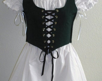 Girls Vest  & Chemise Villager Wench Pirate Wedding, Theatrical, Costume