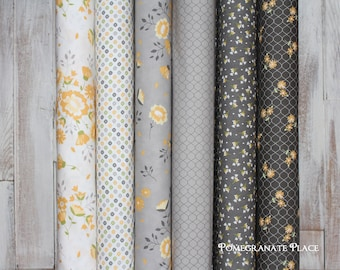 6 Fat Quarter bundle Pepper and Flax by Corey Yoder .. Moda fabrics  Yellow and Grey